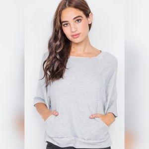 Heather Grey Raw Hem Neckline Relaxed Fit Sweater